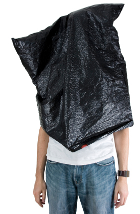 Garbage bag on the persons head for using the term video SEO