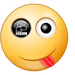 An emoticon with its tough sticking out and Forum online marketing site logo as one of the eyes
