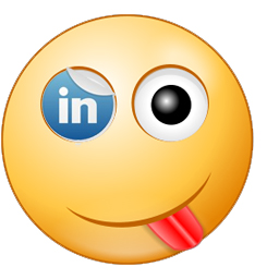 An emoticon with its tough sticking out and LinkedIn online marketing site logo as one of the eyes