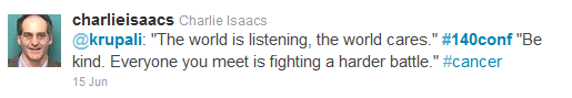 Tweet from @CharlieIsaacs, #140conf 2011 NYC
