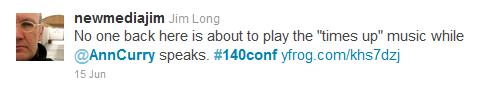Tweet from @NewMediaJim, #140conf 2011 NYC