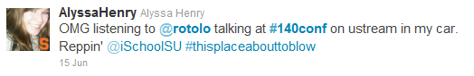 Tweet from @AlyssaHenry, #140conf 2011 NYC
