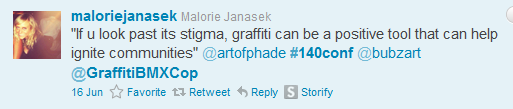 Tweet from @MalorieJanasek, #140conf 2011 NYC
