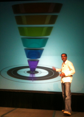 Avinash Kaushik sharing his approach to horizontal and vertical funnels