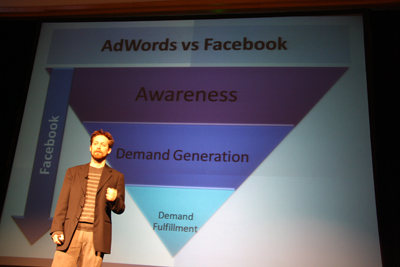 Brian Carter going into details on comparing AdWords to Facebook ads