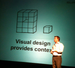 Bryan Zmijewski presenting about visual design and content