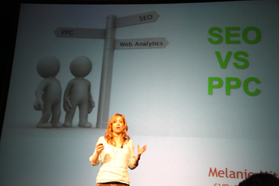 Melanie Mitchell presenting about SEO and PPC at MozCon