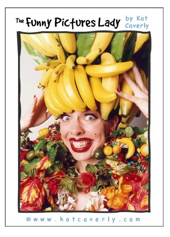 Kat Caverly wears her banana bouffant in a parody of Carmen Miranda.