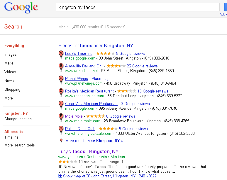 "Google search for ""kingston ny tacos"""