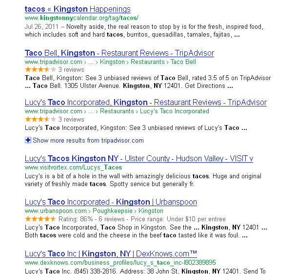 Taco Bell search results from Google