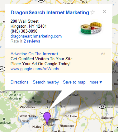 DragonSearch map with new Google bubble ad