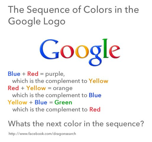 Google logo and sequence of colors