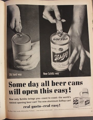 Vintage beer ad depicts a life before pull tabs