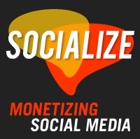 word bubbles with socialize monetizing social media