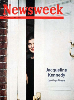 cover of newsweek with jacqueline kennedy peeking through open door