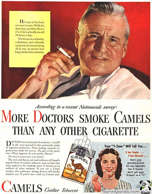ad with doctor smoking cigarette