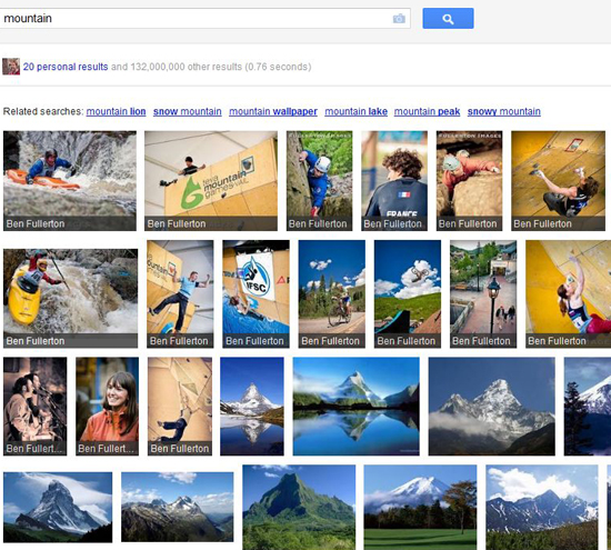 "Screenshot from Google Search, Plus Your World search results of images for ""mountain"" showing Google Plus images first."