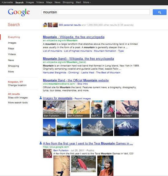 "Screen shot of a search on the word ""mountain"" when in the personal search mode of Google Search, Plus Your World. Images  show up in 4th place."