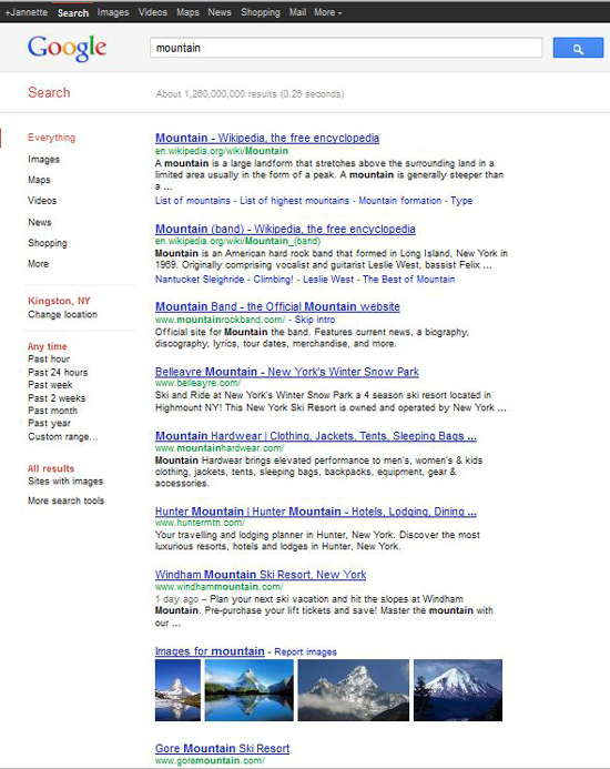 "The Google Search results for a regular search of the word ""mountain"". Images appear in 8th place, at the bottom of the screen shot."