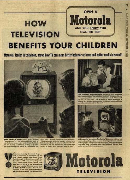 motorola television ad with benefits of television for children