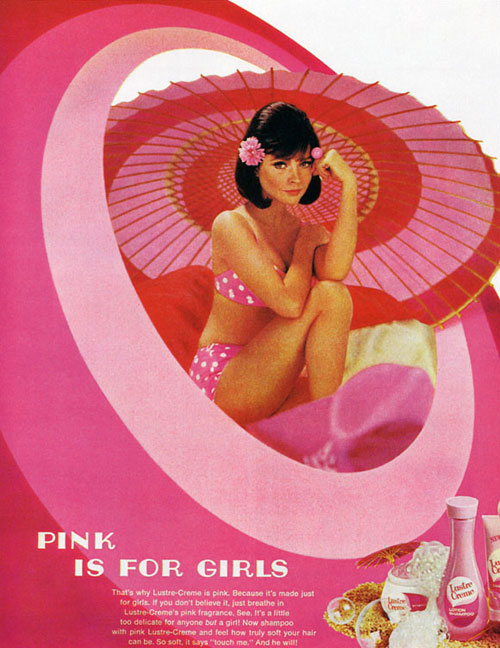 woman in pink bikini surrounded by pink with lustre creme products