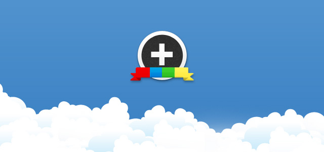 clouds with google plus logo