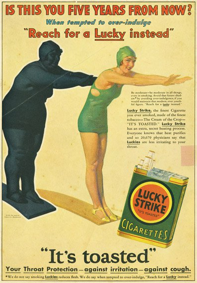 ad for lucky cigarettes with woman in bathing suit