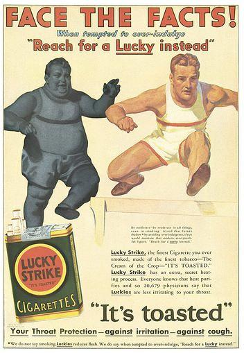 ad for lucky cigarettes with athletic male