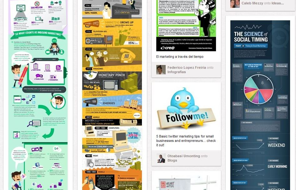 Screenshot of an example of pinterest marketing where a cute twitter bird stands out amongst the clutter and a social media marketing infographic title can be read but the text is too small to read.