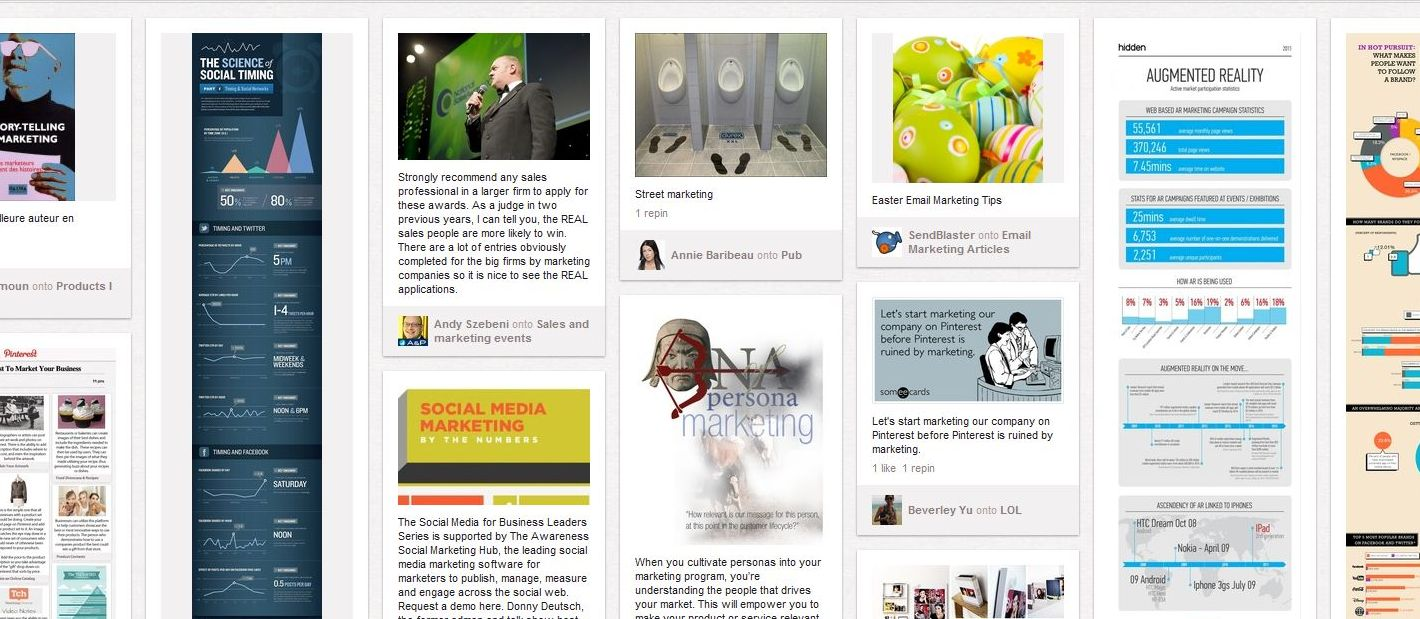 Screenshot of a Pinterest marketing search where the image of three urinals in a row stands out amongst the others.