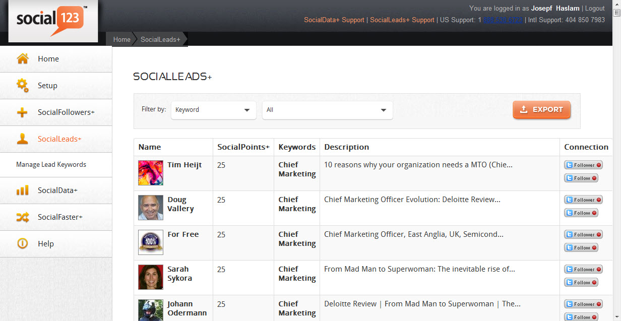 Social123 SocialLeads feature