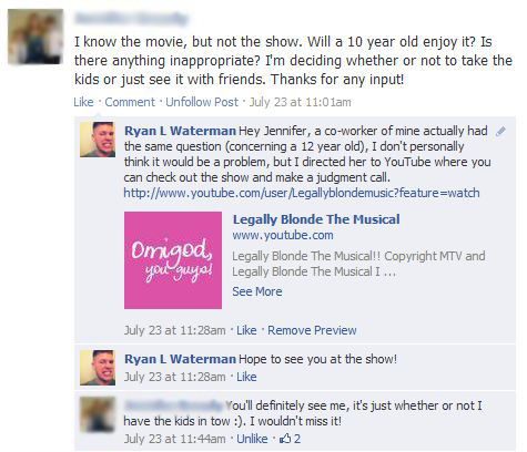 facebook comments for legally blonde the musical event