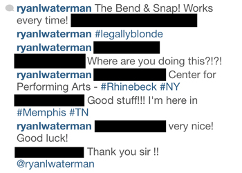 conversation on instagram with actor in memphis