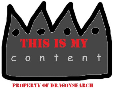 """Our SEO Linkbuilding Link Bait: A hand drawn crown that says """"This is my content"""" and """"Property of DragonSearch"""", original artwork by Danielle Correia."""