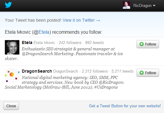 With DragonTweet Advanced Twitter Plugin for WordPress you can enter Twitter accounts as recommendations to follow.
