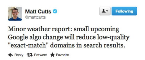 On 9/28/2012 Matt Cutts tweeted about the exact match domin algo update