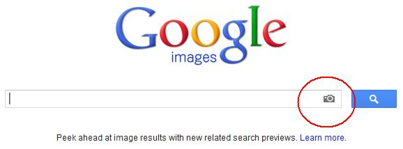 The Google Image Search screen with the camera icon circled to show how to search for your linkbait image by URL.