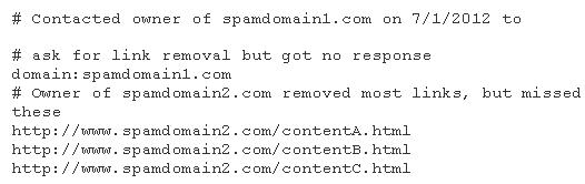 Example text file including comments about what has been done to get the links removed and listing the links to be disavowed.