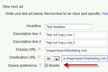 The Google Adwords dialog box to set the Device Preference for a PPC campaign text ad.