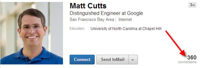 Matt-Cutts-linkedin-profile-page-showing-how-many-the-head-of-google-web-spam-has