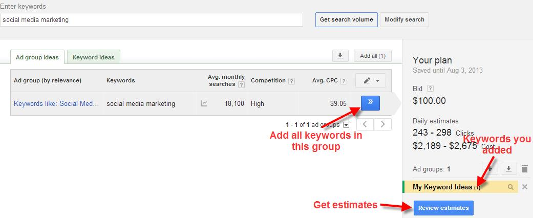 A screenshot of the Google Keyword Planner Tool showing how to choose keywords for estimates