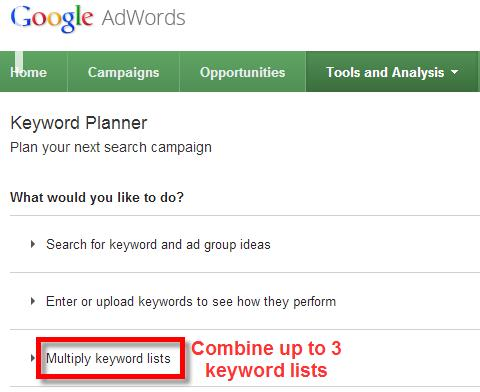 A screenshot of the Google Keyword Planner Tool selecting choose multiple keyword lists