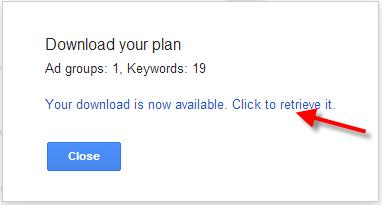 A screenshot of the Google Keyword Planner Tool showing the download keyword file process