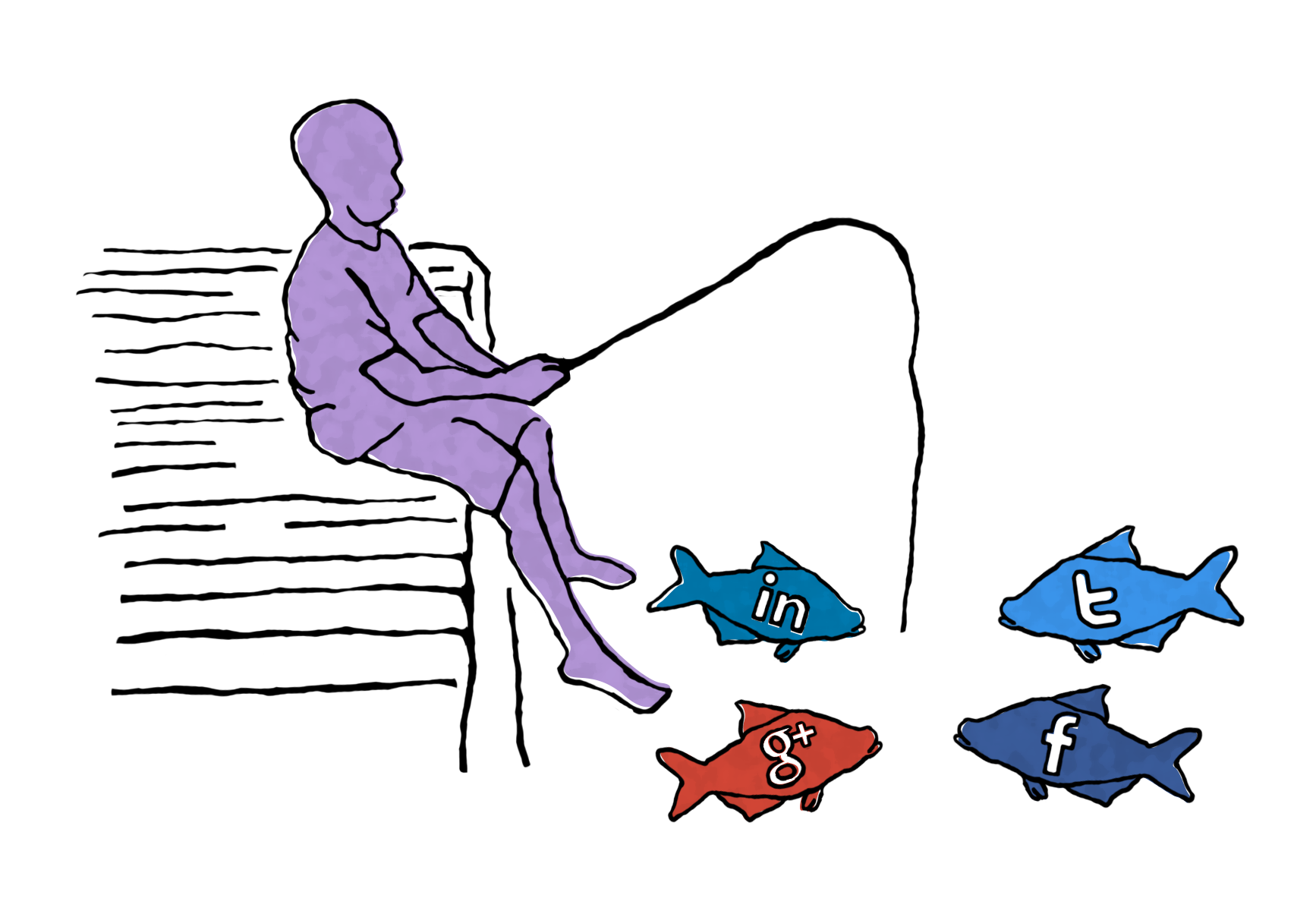 Illustration of someone fishing, with each fish branded with social media site logos.
