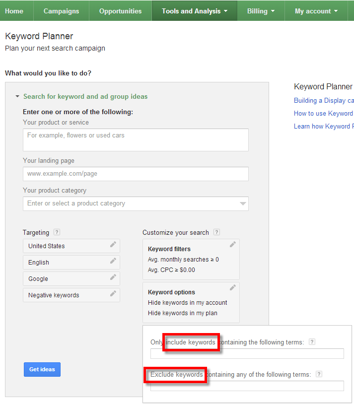 A screenshot of the Google Keyword Planner Tool showing where to hide, include or exclude keywords from your search