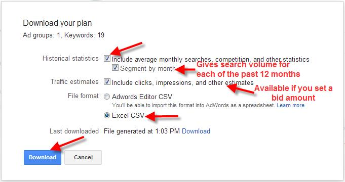A screenshot of the Google Keyword Planner Tool showing how to download your plan