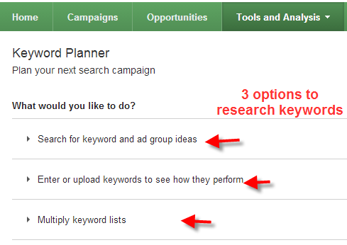 A screenshot of the Google Keyword Planner Tool and the options you can select to research keywords