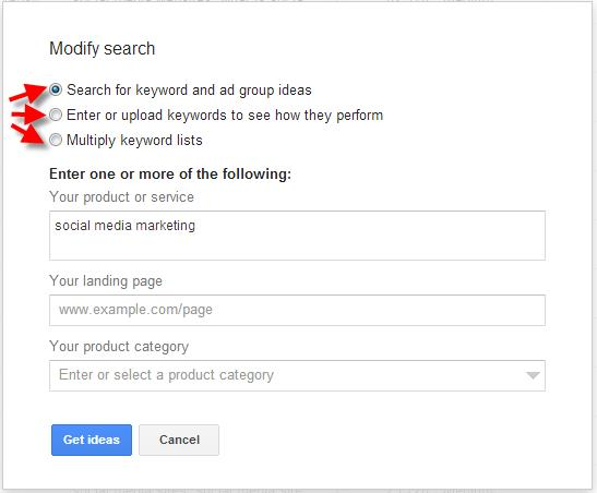 A screenshot of the Google Keyword Planner Tool showing a modified search example
