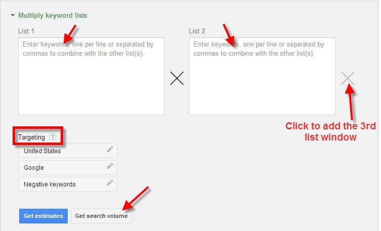 A screenshot of the Google Keyword Planner Tool showing how to multiply keyword lists