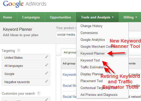 A screenshot of the Google Keyword Planner Tool describing how to open it